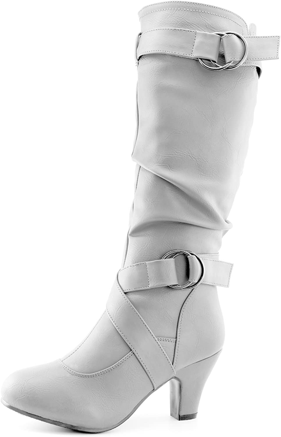 Dailyshoes Women's Mid Calf Ankle Strap Slouchy Fashion Boots, White Pu, 6 B(M) US