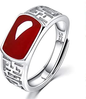 ZGHNZMD S925 Sterling Silver Couple Ring Natural Red Agate Ring Eternal Engagement Wedding Wedding Ring Men And Women Hypoallergenic Ring Gift Jewelry