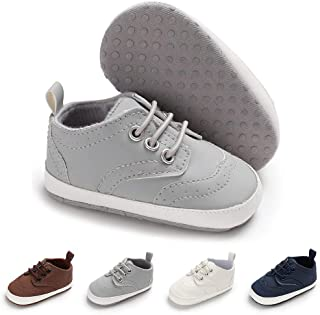 Meckior Fashion Baby Boys Girls Lace Up Brogue Shoes Infant Lightweight Soft Sole Sneakers Prewalker Crib Casual Moccasins