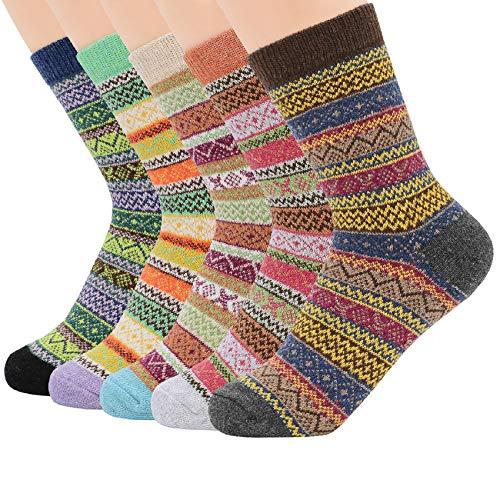 Zando Athletic Sports Knit Pattern Womens Winter Socks Crew Cut Cashmere Retro Thick Warm Soft Wool Socks 5 Pack - Assorted Stripe Shoe Size 6-11