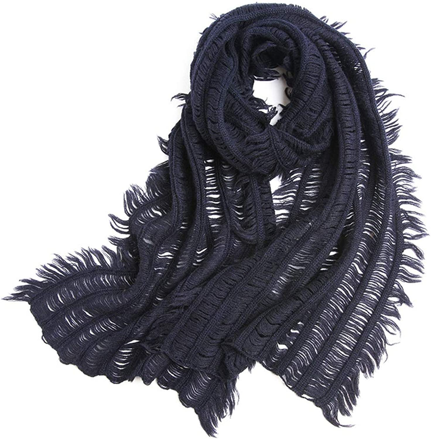 Alpaca Scarf, Ladies Warm Knitted Shawl, Monochrome Jacquard Scarves, 200x40cm (color   bluee)