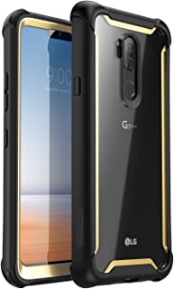i-Blason Case for LG G7 /LG G7 ThinQ 2018 Release, [Ares] Full-Body Rugged Clear Bumper Case with Built-in Screen Protector (Black/Gold)