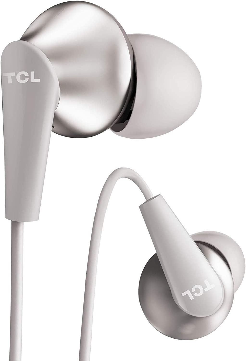 TCL Elit300 in-Ear Earbuds Hi-Res Wired Dual Driver Headphones with Piezo Drivers and Built-in Mic – Cement Gray