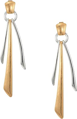 Gold Plated Sculptural Accent at Post with Silver Plated Ring and Silver and Gold Plated Geometric Sticks Earrings