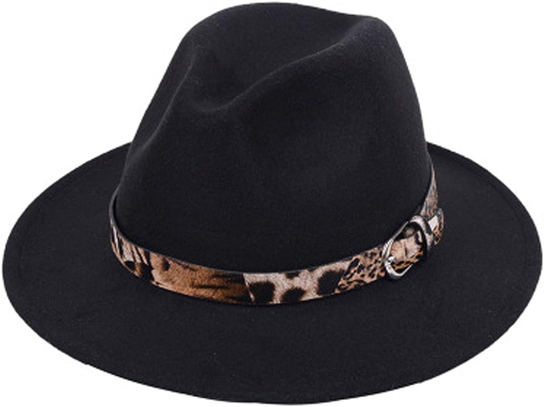 Women Vintage Wide Brim Fedora Hat with Leopard Belt Buckle Fashion Floppy Panama Hat