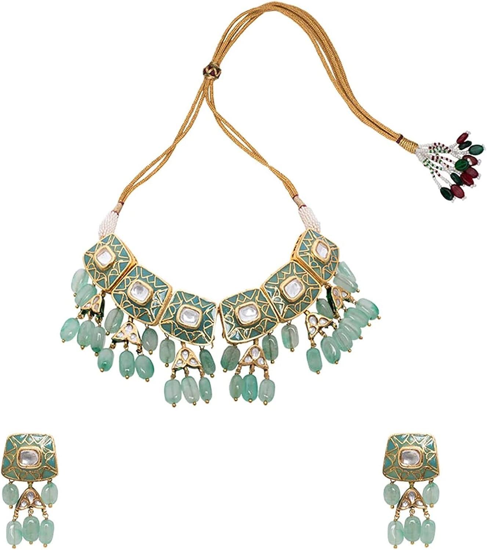 Gold Plated Kundan & Green Jades Dropping Enamel Paint Rectangle Designer Bridal Choker Necklace Set   Indian Bollywood Jewelry