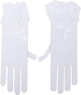 Amosfun 1 Pair Women Bridal Gloves Fishnet Gloves Lace Bride for Wedding Evening Party (White)