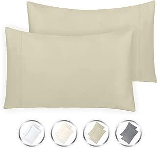 California Design Den 1000-Thread-Count 100% Pure Cotton 2 Piece Pillowcase Set, King, Taupe