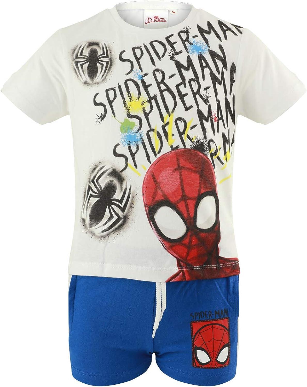 Characters Cartoons Spiderman Marvel Avengers Primavera Estate Completo Coordinato Set 2pz Maglietta e Pantaloncino Bambino