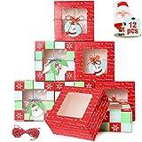 wordmo 12 Piezas Cajas de Regalo Cajas de Cupcakes de Navidad Cajas de Galletas Cajas de Pasteles Cajas de Dulces de panadería Caja de Dulces de Chocolate para cumpleaños de Navidad con Etiquetas