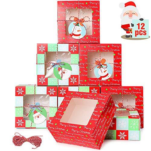 wordmo 12 pezzi Natale Scatole Regalo, Scatole per biscotti di Natale Scatole regalo per cupcake Scatole per dolci da forno Scatola per caramelle al cioccolato per le vacanze Festa del compleanno
