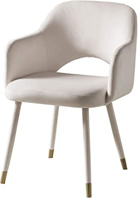 Benjara Velvet Padded Accent Chair with Open Back and Angled Legs, Cream