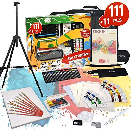 Artina XXL Set de Pintura de 122 Piezas Caballete & Set de Pintura Michelangelo con lápices de Colores, Set de Pinceles, Colores acrílicos, Acuarelas.etc