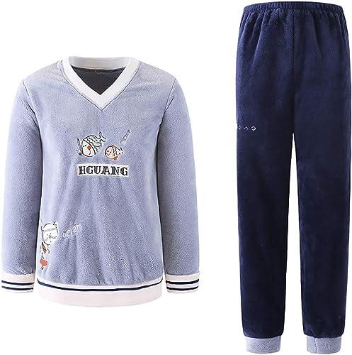 LINLIN Pyjama pour Hommes Chemise De Nuit en Velours Corail épais Service à La Maison Service De Nuit d'hiver King Taille,XXL