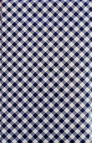 Summer Fun (Elrene) Gingham Bias Small Check Vinyl Flannel Back Tablecloth (Blue, 52' x 90' Oblong)