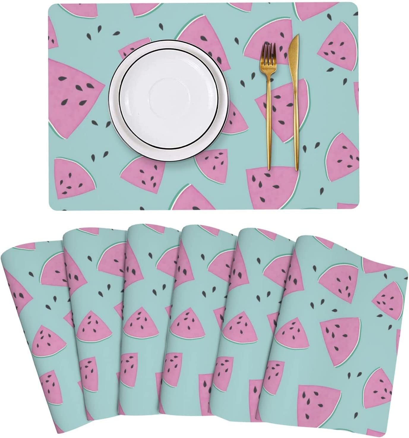 Watermelon Cute Max 58% OFF Pink safety Placemat Leather Table Set 6 Mats Easy t of