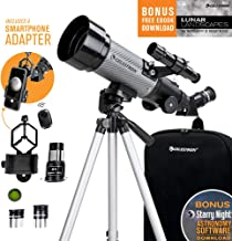 Celestron - 70mm Travel Scope DX - Portable Refractor Telescope - Fully-Coated Glass Optics - Ideal Telescope for Beginners - Bonus Astronomy Software Package - Digiscoping Smartphone Adapter