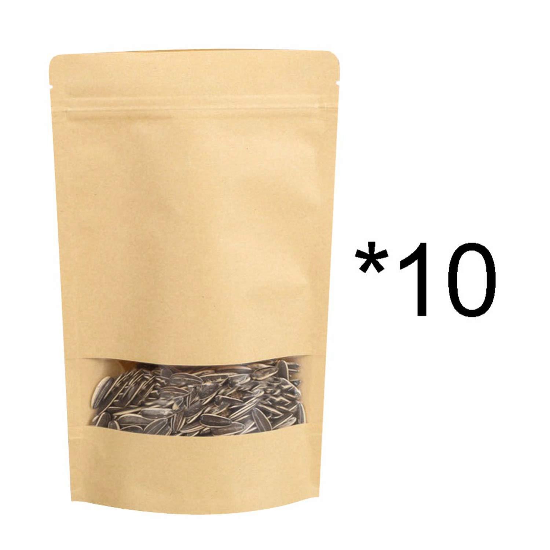 10 Pcs Brown Gift Kraft Paper Bag Zip Lock Food Snack Tea Bag Pa