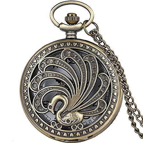 NC188 Reloj de Bolsillo de Cuarzo de Pavo Real Antiguo Estilo Retro Collar de Belleza Hueco Colgante Regalo Creativo Reloj de Animales coleccionables Reloj