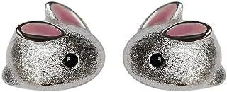 Belons Pendientes para niñas de plata de ley 925 con diseño de conejo para mujer