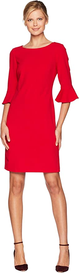 Drapey Crepe 3/4 Ruffle Sleeve A-Line Dress