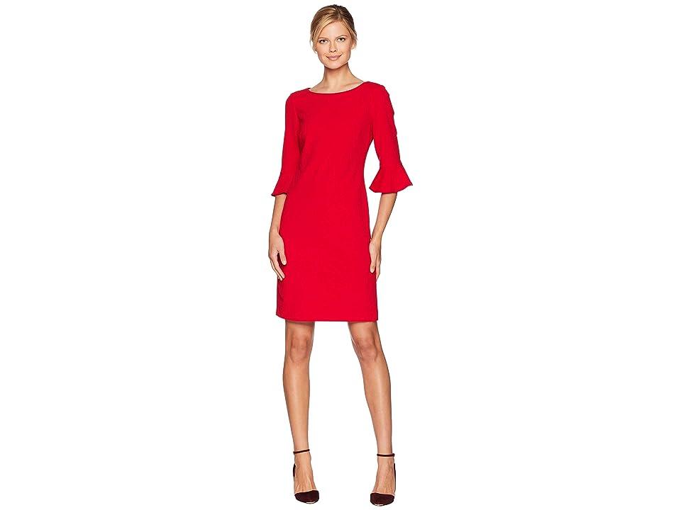 Nine West Drapey Crepe 3/4 Ruffle Sleeve A-Line Dress (Crimson) Women