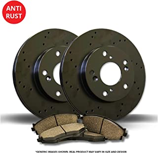 High-End 8 Ceramic Pads 5lug Front+Rear Kit Fits:- 128i 4 Black Coated Cross-Drilled Disc Brake Rotors