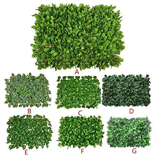 DZX Valla de Hoja Artificial, césped al Aire Libre y Pantalla de protección de privacidad de Hiedra, decoración de Boda en el jardín del hogar con Fondo de Pared de Planta Artificial, 60 Veces;