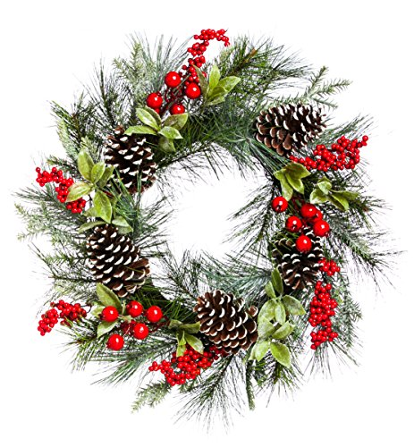 Cypress Home Beautiful Christmas Holly and Pine Cone Wreath Indoor Décor - 24 x 5 x 24 Inches Indoor/Outdoor Decoration for Homes, Yards and Gardens