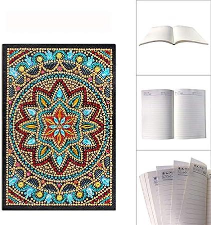 PULE Cuaderno de Pintura de Diamantes Kits de Arte de Diamantes en Forma Especial Bordado Libro de Diario de Punto de Cruz 50 p/áginas,A