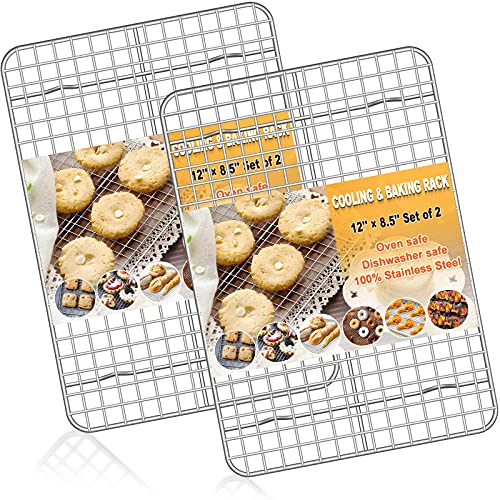 Baking Rack Cooking Rack Set of 2-''12''x''8.5''-Stainless Steel Wire Baking Cooking Roasting Grilling Rack, Fits Quarter Sheet Pan, Commercial Quality, Oven & Dishwasher Safe