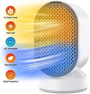 Nobebird Portátil Calefactor Eléctrico, Mini Calentador de Ventilador, Personal Ventilador Calefactor Eléctrico PTC Cerámica, Oscilación Automática Calefactor Aire Frio y Caliente para Hogar Oficina