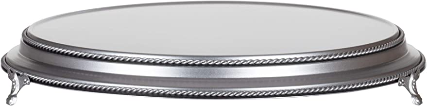 Amalfi Decor 18 Inch Cake Stand Plateau Riser, Large Dessert Cupcake Pastry Candy Display Plate for Wedding Event Birthday Party, Round Metal Pedestal Holder, Silver