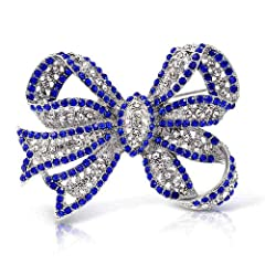 Idea Regalo - Grande Affermazione di Moda Royal Blu Cristallo Ribbon Arco Spilla Pin per Donne Placcato in Argento