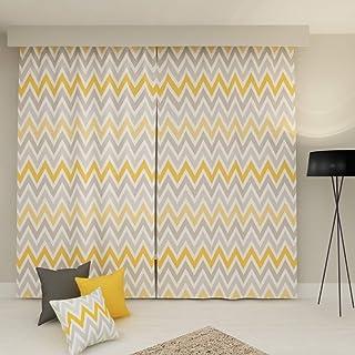 Erenev Sarı Gri Zigzag Fon Perde Seti, 250 cm