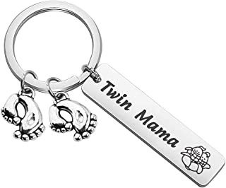 New Mom Gift Twin Mom Keychain Gift Mommy to Be Gift for Mom of Twins with Baby Feet Charm