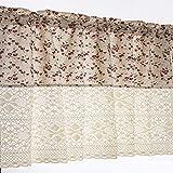 choicehot Cortinas de estilo rústico, rojas, flores románticas, de encaje, color beige, de algodón, semiopacas, retro, elegante, cortas, 1 unidad, alto x ancho: 80 x 130 cm