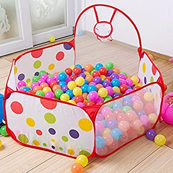 Kids Indoor Pop Up Ball Play Tent,PortableFun Playhouse Ball Pit Pool Playpen with Basketball Hoop - Great Outdoor Toddler Toys-Balls Not Included  Ball Pit with Basketball Hoop