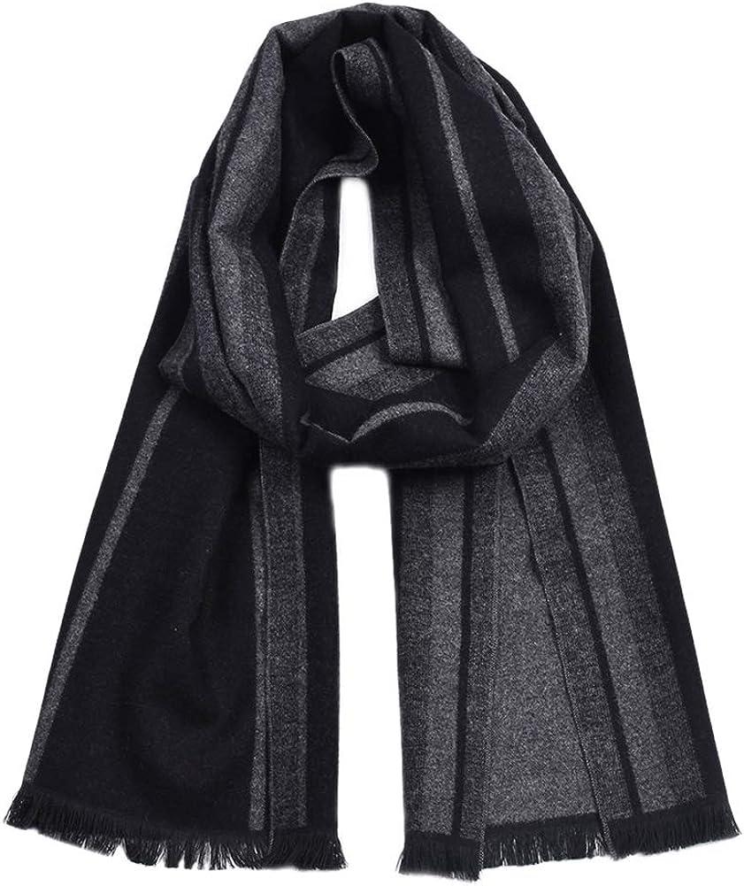 Dylandy New Men's Fashion Scarf Neck Wrap Men's Winter Warm Cotton Striped Tassel Shawl Bib Scarf Christmas Gift(Black and Gray)