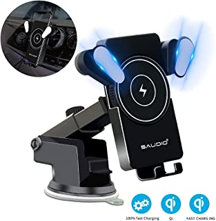 Wireless Car Charger Mount,Qi Automatic Clamping SAUDIO Dashboard Air Vent Gravity Sensor Phone Holder Compatible with iPhone X/Xs MAX/XS/XR/X/8/8+,Samsung S10/S10+/S9/S9+/S8/S8+