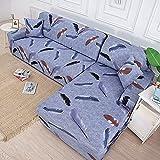 Housse de canapé élastique géométrique nécessite Une Commande de 2 pièces Housse de canapé si canapé d'angle sectionnel de Style L enveloppe serrée capa de Sofa A11 4 Places