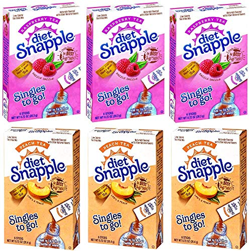 Diet Snapple Iced Tea Singles To Go Variety Pack! 3 Peach Tea + 3 Raspberry Tea! 6 Boxes with 6 Packets Each = 36 Servings!