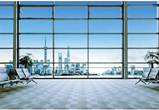 YongFoto 8x6ft Airport Lounge Backdrop Modern Architecture French Windows Photography Background Blue Sky Chair Holiday Set Out Trip Adult Portrait Photoshoot Video Studio Props