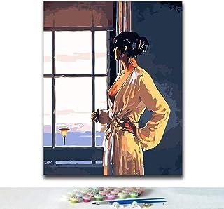 Gör-det-själv måla efter nummer bild ritning efter nummer med kit som tittar på kvinnan utanför fönstret grace vacker kons...