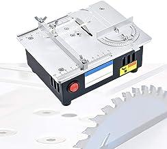 HTDHS Mini sierras de mesa, sierras de mesa portátiles 96W con adaptador de alimentación de siete velocidades, velocidad del motor 5000 RPM Hoja de sierra de aleación para guía de ángulo Modelo de mad