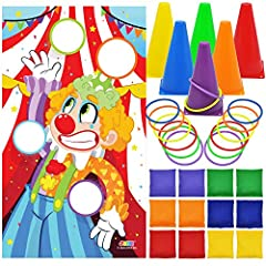 COMPREHENSIVE SET. Our carnival ring toss game set includes 12 toss rings, 12 bean bags, 6 cones, and 1 toss banner. One color is for 1 cone, 2 toss rings, and 2 bean bags. REAL FUNCTION. Think you can throw a ringer? Give these rings a toss and see!...