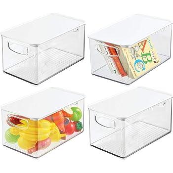 mDesign Juego de 4 organizadores de juguetes – Juguetero grande con tapa de plástico robusto – Caja organizadora apilable para guardar juguetes y manualidades – transparente y blanco: Amazon.es: Hogar