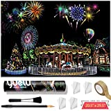Scratch Art Painting Paper Large Decorative Paintings - (20.5' x 29.5' Postal Tube Packaging) - Rainbow Sketch Pads DIY Crafts Night View Scratchboard Art Materials for Adults and Kids(Amusement Park)