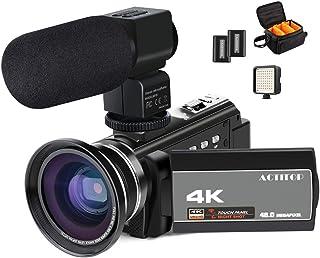 ビデオカメラ ACTITOP デジタルビデオカメラ 4K HDR 48MP WIFI機能 16倍デジタルズーム IR夜視機能 予備バッテリーあり 3.0インチタッチモニター 外部マイク 超広角レンズ搭載 ビデオライト カメラバッグ 日本語システム (4800万画素)