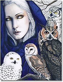 "Fantasy Art Print Owls Nature Shaman Woman""Wisdom"""